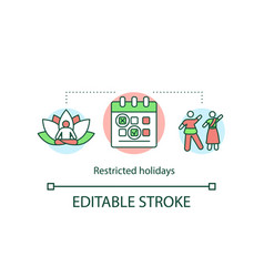 Restricted holidays concept icon vector