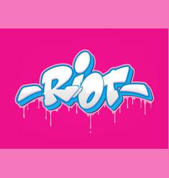 Riot font in graffiti style vector
