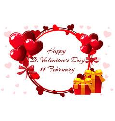 romantic wreath for saint valentine day wedding vector image