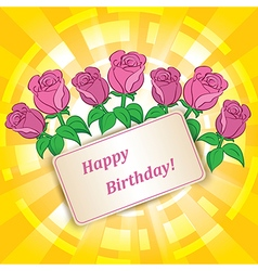 Roses for birthday with yellow background vector