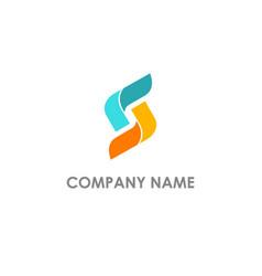s initial circle shape company logo vector image