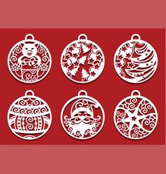 Santa pig holding gift inside christmas balls vector