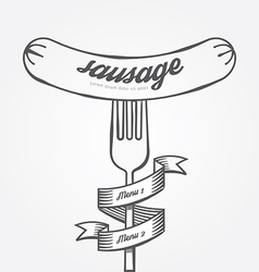 Sausage menu doodle drawn background vintage vector