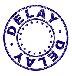 Scratched textured delay round stamp seal vector