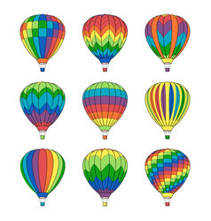 set air ballon icons isolated on white vector image