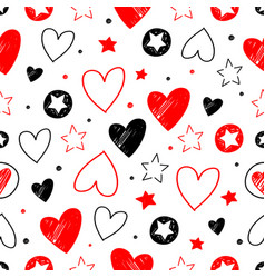 set hand drawn stars and hearts grunge elements vector image