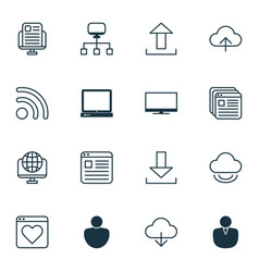 set of 16 internet icons includes virtual storage vector image