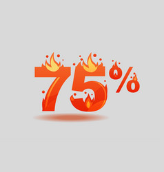 Seventy five percent discount numbers on fire vector
