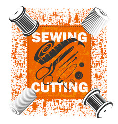 sewing a banner with a tool vector image