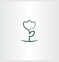 Simple flower plant line icon logo vector