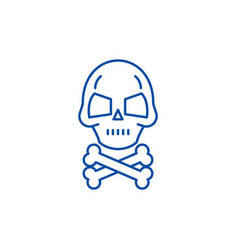 skull with bones line icon concept skull with vector image