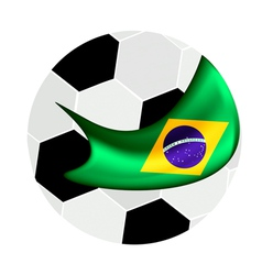 Soccer Ball and Brazilian Flag of Brazil 2014 vector image