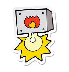 Sticker of a cartoon flashing fire warning light vector
