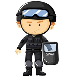 SWAT in black safety suit vector image