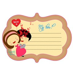 Sweet love valentines about label vector image