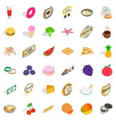 tasty dish icons set isometric style vector image