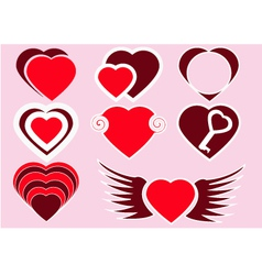 The collection of red hearts vector