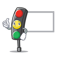 Thumbs up with board traffic light character vector