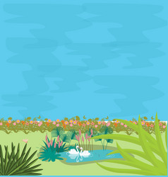 Two swans in small pond in the midle of greens vector