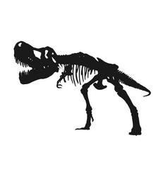tyrannosaurus rex skeleton silhouette on isolated vector image