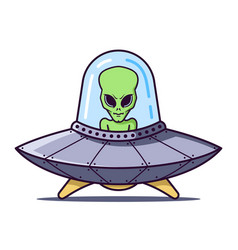 Ufo with a green alien on a white background vector