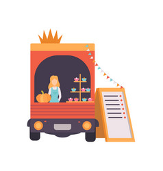 Van shop with fast food drinks and female seller vector