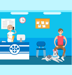 Veterinary receptionist man with dog in clinic vector