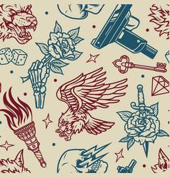 vintage monochrome tattoos seamless pattern vector image