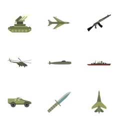 Weaponry icons set flat style vector image vector image