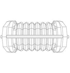 Wire-frame industrial equipment oil flowmeter ep vector