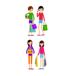 woman with shopping bags and credit card young vector image