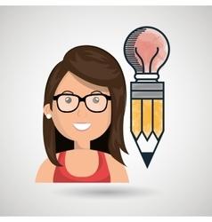 woman young idea icon vector image