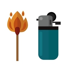 burning matches sticks and lighters vector image