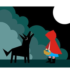 Little Red Riding Hood and the Wolf vector image vector image