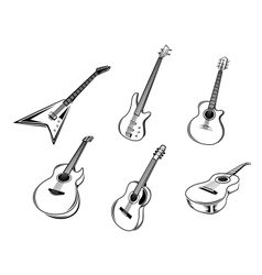 Musical guitars instruments vector image