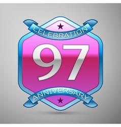 Ninety seven years anniversary celebration silver vector