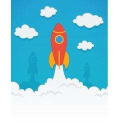 rocket startup concept in flat style vector image vector image