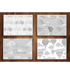 Set of 4 vintage prints vector image vector image