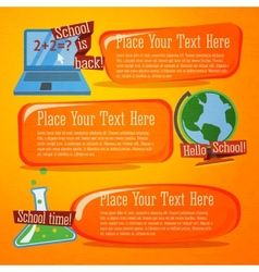 Set of cute back to school banners with computer vector image vector image