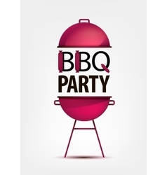 Barbecue BBQ party invitation with grill logo vector image