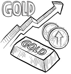doodle currency gold increase vector image vector image