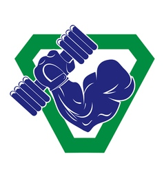 hand bodybuilder with a large dumbbells vector image