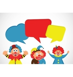 set of colorful clowns with speech bubbles vector image