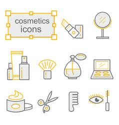 thin lines icon set cosmetics vector image vector image