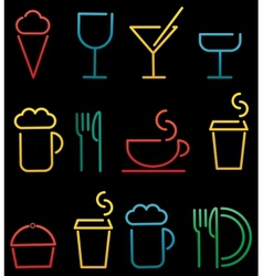 colorful beverage and food set vector image vector image