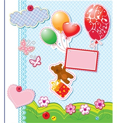 frame with balloons and bear vector image