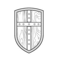 outline medieval shield with cross icon vector image