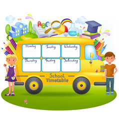school bus with school timetable vector image