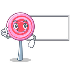 thumbs up with board cute lollipop character vector image
