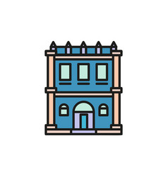 isolated blue color low-rise municipal house in vector image vector image